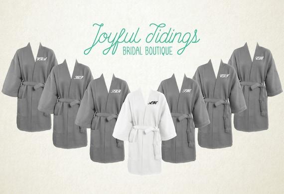 Free Robe Set Of 7 Personalized Grey Waffle Robes Bridesmaid Etsy
