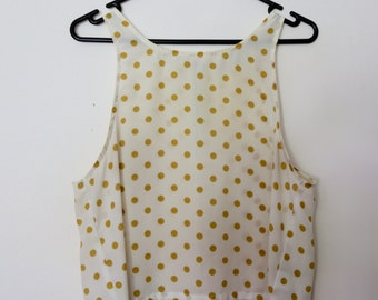 Vintage 1990s High Neck Cream and Mustard Yellow Polka Dot Spot Crop Sleeveless Tank Top Vest Singlet