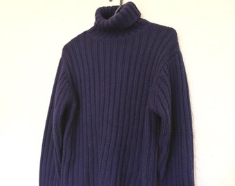 ed35e4b28 Vintage 1990s Navy Blue Heavy Rib Ribbed Knit Roll Neck Polo Neck Sweater  Jumper Jersey Pullover Skivvy Turtleneck Mock Neck