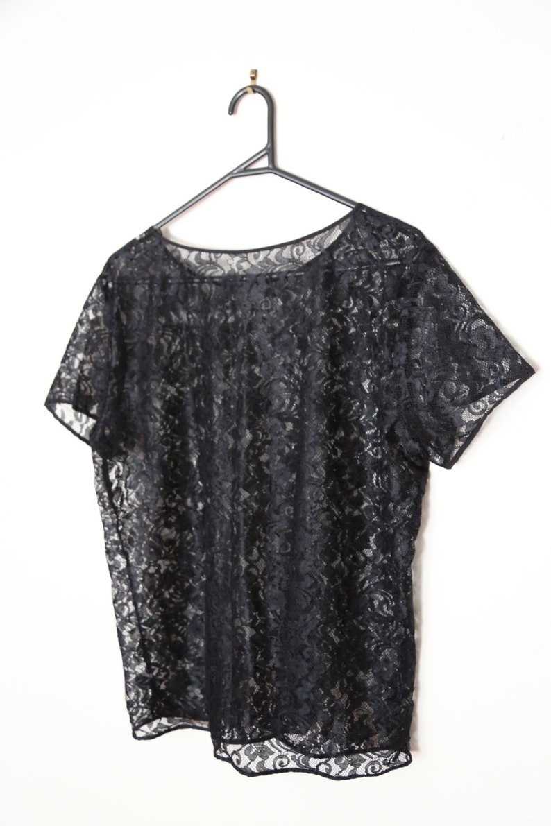 Vintage 1990s Black Sheer Lace Floral Embroidered T-Shirt Tee Top