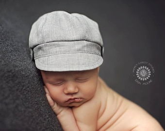 Newborn Newsboy Hat Baby Boy Gray Grey Photography Prop Infant Cap Special Occasion Wedding Fabric Buttons