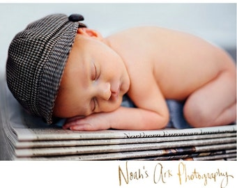 Newborn Newsboy Hat Baby Boy Photography Prop Brown Infant Cap Houndstooth Haiti button special occasion wedding