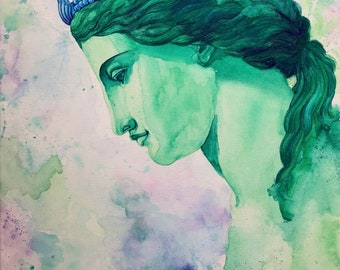 Water Nymph watercolor canvas painting - Greek Mythology Art