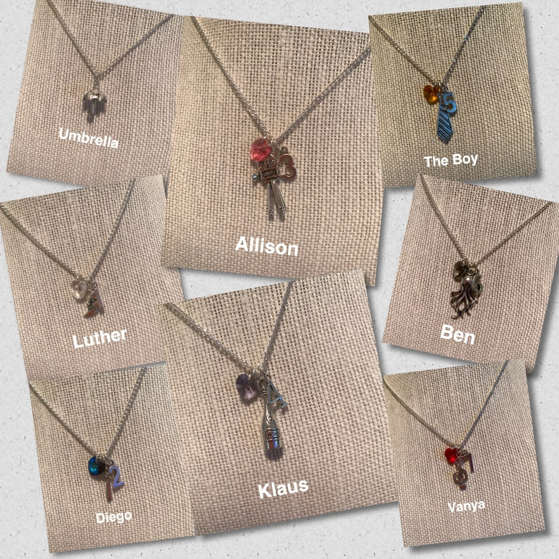 The Umbrella Academy Character Necklaces | Etsy