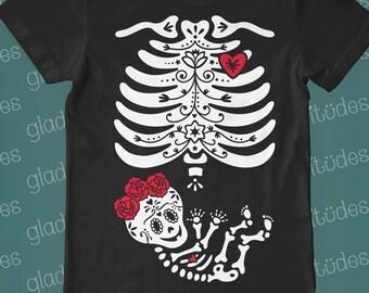 Frida Inspired Sugar Skull Skeleton for Pregnancy - on *mens/unisex* Short Sleeve T-shirt