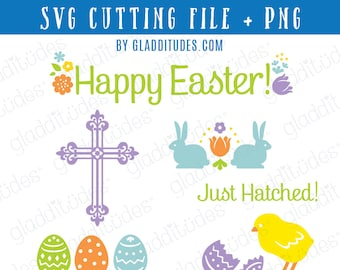 Happy Easter SVG Cutting file - set of 6 designs