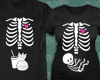 Skelly Baby Couple's Maternity and Dad-to-be Skeleton t-shirts