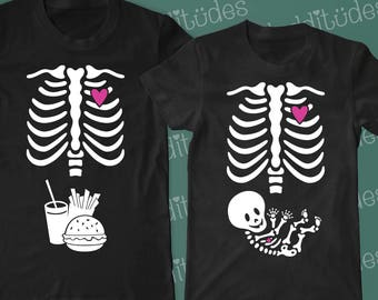 Couple's pregnancy costume - non maternity *unisex* mama tee - and Dad-to-be Skeleton T-shirts