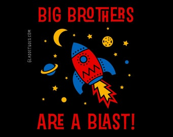 Big Brother Space T-shirt with Rocket and Planets