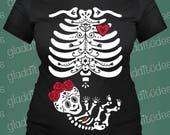 Frida Inspired Maternity Skeleton Costum T-shirt
