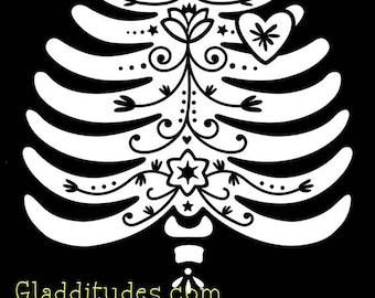DIY Iron-on Transfer - Sugar Skull RIB CAGE (with belly options)