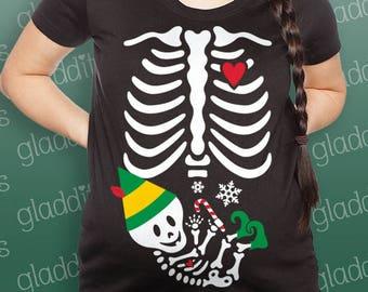 Elf Skelly Baby Christmas Maternity Skeleton T-shirt