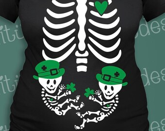 Irish Skelly Baby Twins Maternity for St. Patrick's Day
