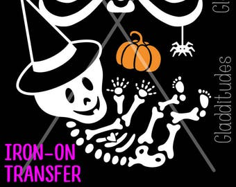 DIY Christmas Costume Iron-on Transfer Skelly Baby with Santa Hat
