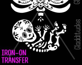 DIY Iron-on Transfer - Sugar Skull Skelly Baby Maternity Skeleton