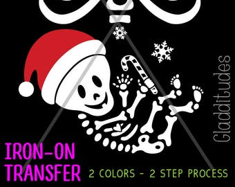 DIY Christmas Costume Iron-on Transfer - Skelly Baby with Santa Hat