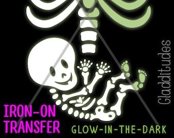 DIY Iron-on Transfer - Skelly Baby Glow-in-the-Dark Maternity Skeleton Costume
