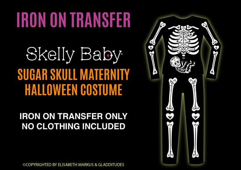 bcefd7ec55fbe DIY Iron-on Transfer Sugar Skull MATERNITY Skeleton Costume   Etsy