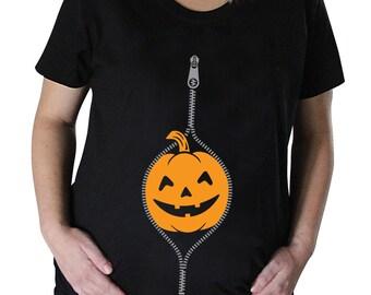 Peeking Pumpkin Smuggler Maternity Halloween T-shirt
