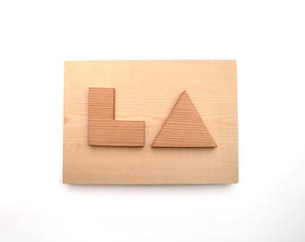 LA - Minimalist Wood Sign