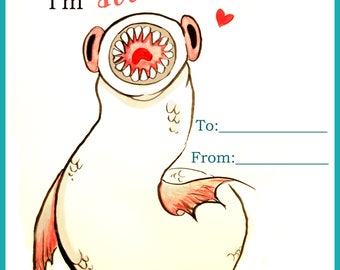 Cute Lamprey Valentine - Set of 4