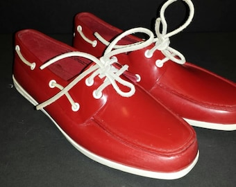 Vintage Sperry Rubber Red Top-Sider Waterproof 8.5 M Boat Yacht Shoes White Leather Laces