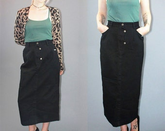 80s High Waisted Skirt Maxi Skirt Western Riding Skirt Country Grunge Midi Skirt Black Denim Jean Skirt Long Skirt Size M