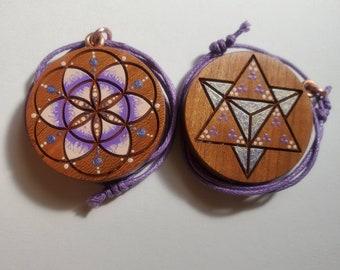 Violet Flame Seed of Life & Merkaba Pendant