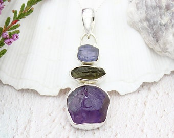 6b0d0a0a6 Amethyst, Tanzanite And Moldavite Gemstone Handmade Ladies Sterling Silver  Pendant