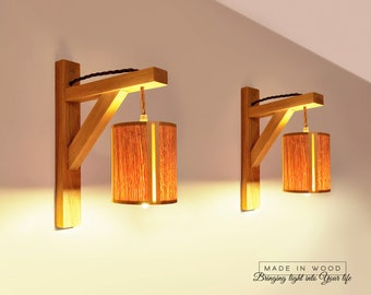 Wall sconce light etsy wall sconce light set of 2 hanging lamp lamp bracket wood lamp aloadofball Images