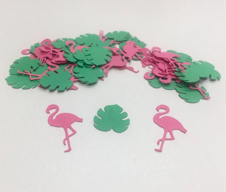 Flamingo Confetti, Pink Flamingo, Palm Leaves, Babyshower decoration ...