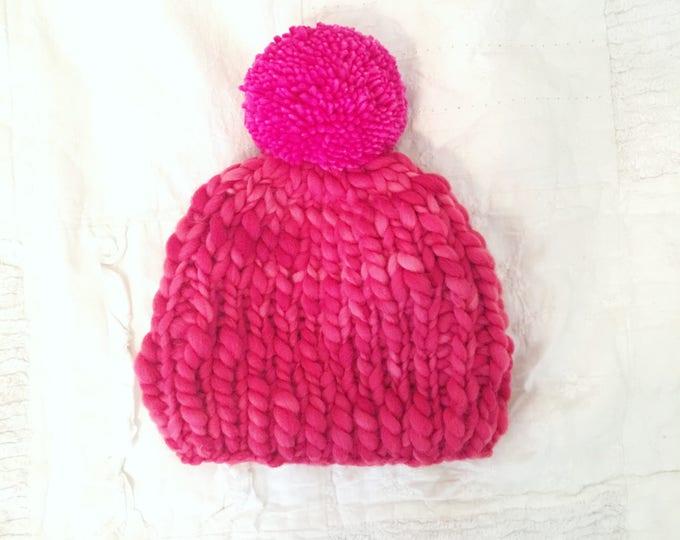 Think n Thin Merino Wool Beanie// Red and Pink