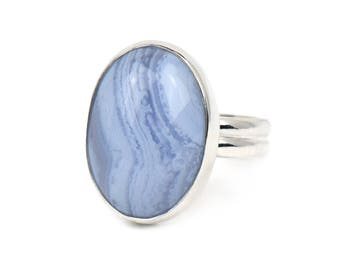 Statement Ring - Blue Lace Agate Sterling Silver Ring - Gemstone Ring - Boho Ring - Mother of the Bride Gift - Rings for Women Gift for Her