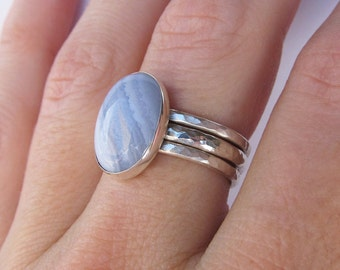 Sterling Silver Gemstone Ring Stacking Ring Set - Boho Ring - Blue Lace Agate Ring - Minimalist Ring - Statement Ring - Christmas Gift