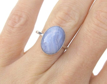 Minimalist Ring - Boho Rings for Women - Blue Lace Agate Bohemian Ring - Gift for Her Bridesmaid Gifts - Alternative Engagement Ring