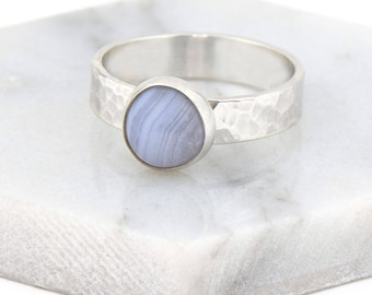 Blue Lace Agate Ring - Sterling Silver Boho Ring for Women - Minimalist Gemstone Ring - Hammered Unique Ring - Gift For Her