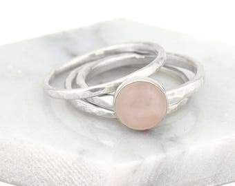 Sterling Silver Stacking Ring Set - Everyday Ring - Gifts for Her Dainty Ring for Women - Anniversary Gift -  Rose Quartz Minimalist Ring