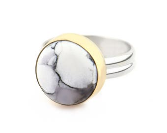 Minimalist Ring Anniversary Gift for Her - Christmas Gifts for Women - Gemstone Ring Statement Ring - Sterling Silver Dendritic Agate Ring