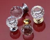 Ball Crystal Glass Single Hole Knob Chrome Clear Door Knobs Pulls Handles Drawer knobs pulls Dresser Wardrobe Cabinet Pulls Knobs Hardware