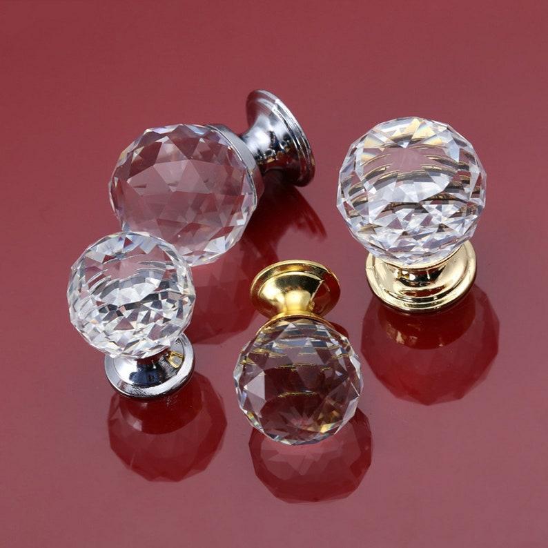 Ball Crystal Glass Single Hole Knob Chrome Clear Door Knobs image 0