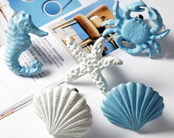 Mediterranean style Door Handle Knobs Crab Drawer Pulls Knob Dresser handle knobs Cabinet Handle Knobs Starfish shell Wardrobe Cupboard Knob
