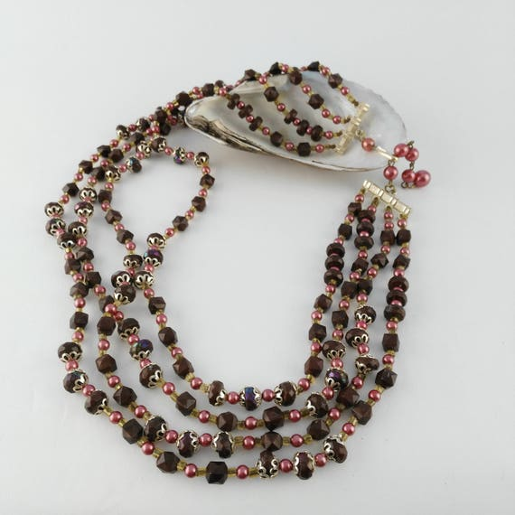 Pink Brown Necklace Hong Kong Multistrand