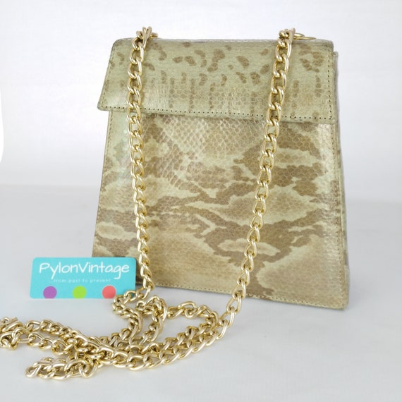 Faux Snakeskin Long Chain Handbag Vintage Handbag Gift For Etsy