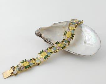 Fun Flower Bracelet, Bright Bracelet, Mid Century Bracelet, Vintage Bracelet, Mother's Day Gift, Gift for Women, Best Friend Gift