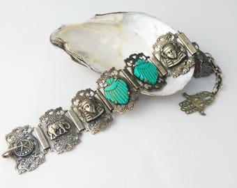 Blue Scarab Bracelet - Bohemian Bracelet - Egyptian Bracelet - Boho Bracelet - Gift for Women - Mother's Day Gift - Birthday Gift