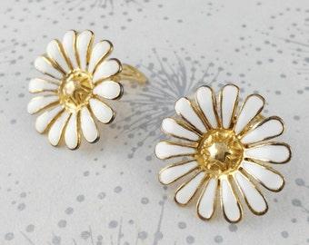Big Flower Earrings - Clip On Earrings - Statement Earrings - White Flower Earrings - Pop Art Earrings - Gift for Women - Mother's Day Gift