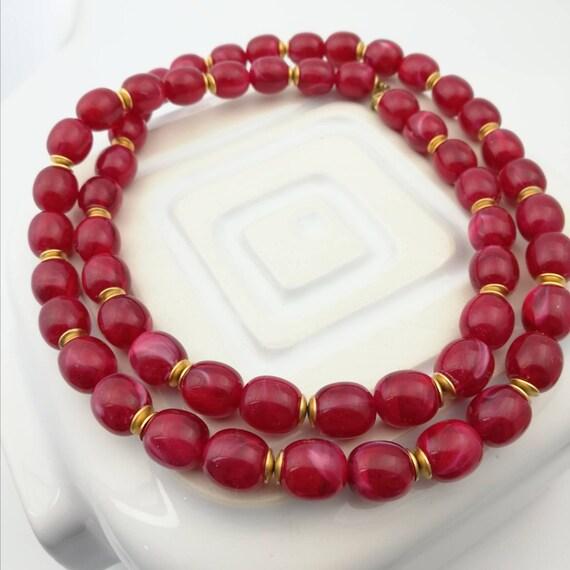 Raspberry Plastic Bead Necklace
