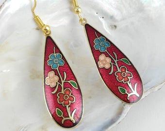 Red Enamel Earrings - Mother's Day Gift - Bohemian Earrings - Gift for Women - Cloisonne Earrings - Red Boho Earrings - Flower Drop Earrings