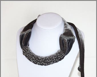 Neckles accessory. The only one, gray, hand made, multifunctional, stretch velvet accessory.