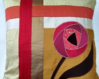 Handmade Gold raw silk cushion with Red Rennie Mackintosh rose -  45m luxury furnishing.